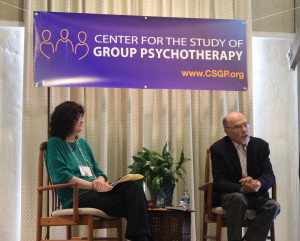 Moderator Nancy Wesson, PhD, with Dr. Irvin Yalom.
